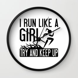 Youth I Run Like A Girl Try To Keep Up Funny Running Wall Clock