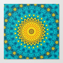 Birds of Paradise Geometric Circle Pattern \\ Tropical Beach House Vibes \\ Green Yellow Blue Colors Canvas Print