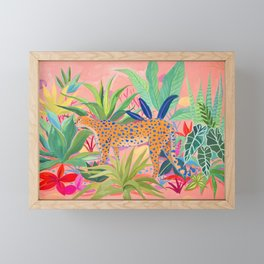 Leopard in Succulent Garden Framed Mini Art Print