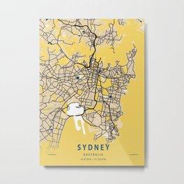 Sydney Yellow City Map Metal Print