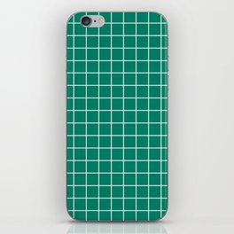 Generic viridian - green color - White Lines Grid Pattern iPhone Skin
