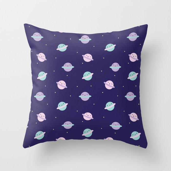 Kawaii Pastel Planets Throw Pillow