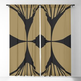Diamond Series Floral Cross Charcoal on Gold Blackout Curtain