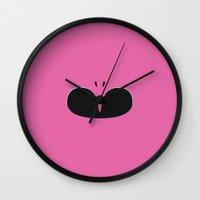 power ranger Wall Clocks featuring Pink Ranger Remix by hellostranger