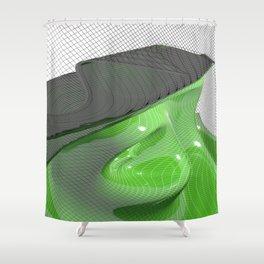 Waving green mathematical surface Shower Curtain