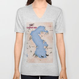 Caspian Sea Map Unisex V-Neck