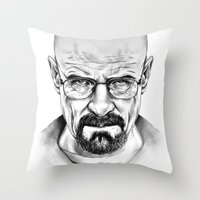 walter white Throw Pillows featuring Walter White by 13 Styx