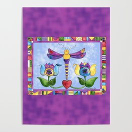 Dragonfly Love with Border Poster