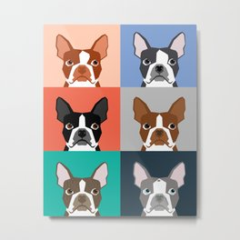 Boston Terriers tile pattern cute boston terrier puppies funny dog breed pet art gift for dog person Metal Print