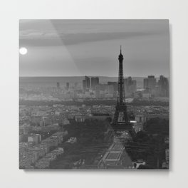 Black &White Paris From Above Metal Print