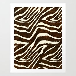 ANIMAL PRINT ZEBRA IN WINTER 2 BROWN AND BEIGE Art Print