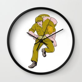 World War Two American Soldier Carry Wounded Comrade Wall Clock