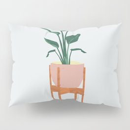 Boho mid century modern house plant and pot stand Pillow Sham