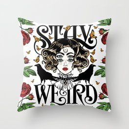 Rose and The Ravens | Stay Weird Throw Pillow