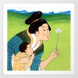 Mrs Hokusai Blows A Dandelion For The Baby Art Print