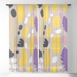 terrazo and leaf Sheer Curtain