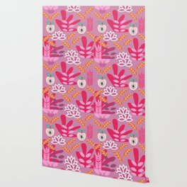 Apples and plants in shades of pink Wallpaper