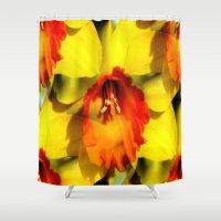 trumpet Shower Curtains featuring Daffodil - Orange Trumpet by Judy Palkimas