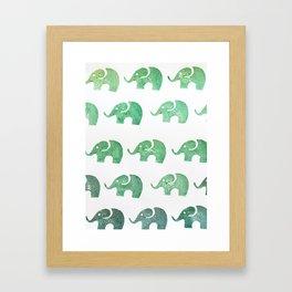 Elephant green Framed Art Print