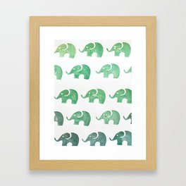 Elephant green Framed Art Print