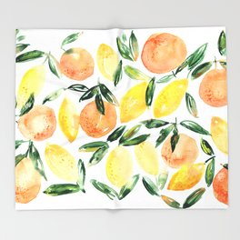 Sicilian orchard: lemons and oranges in watercolor, summer citrus Throw Blanket