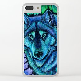 Blue Wolf Aurora Colorful Fantasy Clear iPhone Case