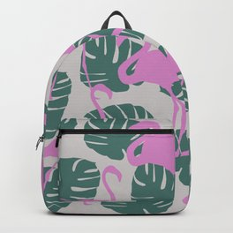 Flamingos and Monstera Pattern Z Backpack