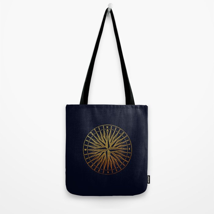 The golden compass- maritime print with gold ornament Tote Bag