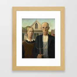 American Gothic Oil Painting by Grant Wood Framed Art Print