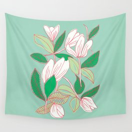 Floating Tulips (mint green) Wall Tapestry