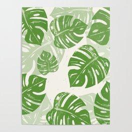 Linocut Monstera Leaf Pattern Poster