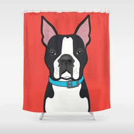 Boston Terrier Art Poster Dog Icon Series by Artist A.Ramos. Designed in Bold Colors Shower Curtain