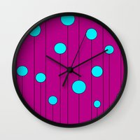 balloons Wall Clocks featuring Balloons  by JuniqueStudio