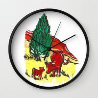 Big moo, wee moo (colored version) Wall Clock
