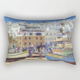 Albufeira fishing boats, Portugal Rectangular Pillow