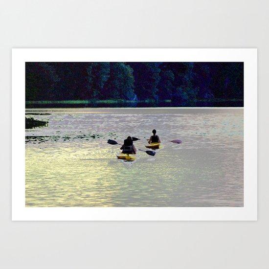 Twilight Kayaking Beach Lake, PA by debracortesedesigns