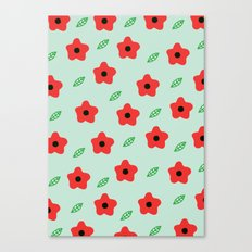 Poppies & Leaves Canvas Print