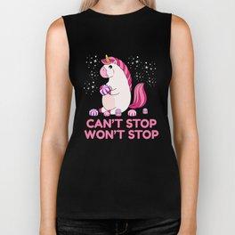 Can't Stop Won't Stop | Greedy Unicorn Biker Tank