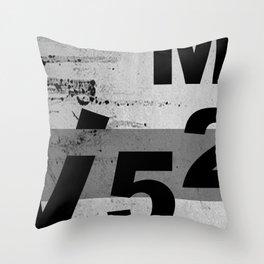 GRUNGE TECHNO V52m Typography | smoke grey black Throw Pillow
