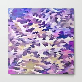 Foliage Abstract Camouflage In Pale Purple and Violet Pastels Metal Print