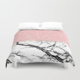 Blush Pink Geometric Triangles Rose Gold Marble Duvet Cover