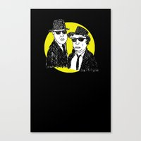 blues brothers Canvas Prints featuring Blues Brothers by Marco Patiño