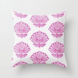 Pink Indian Woodblock Lotus Pattern Throw Pillow