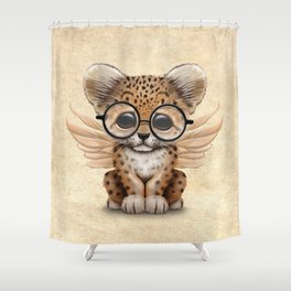 Cute Leopard Cub Fairy Wearing Glasses Shower Curtain