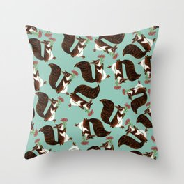 Squirrel with a flower Throw Pillow