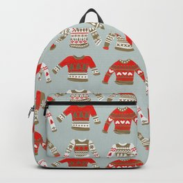 Christmas Sweaters – Vintage Gold & Red Palette Backpack