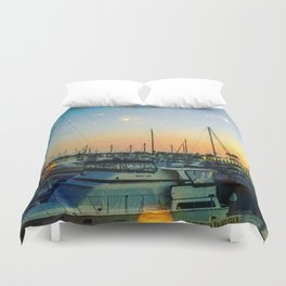 Boats at Sunset -Ava Photography Duvet Cover