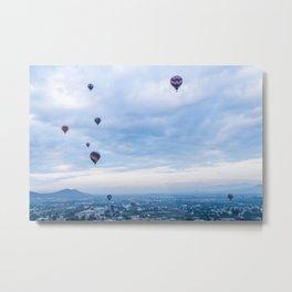 Hot Air Balloons High Above Mexico City Metal Print