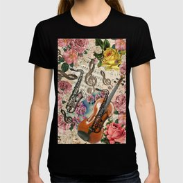 Vintage pink bohemian roses classical notes musical instruments T-shirt