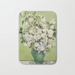 Vase of Roses by Vincent Van Gogh Bath Mat